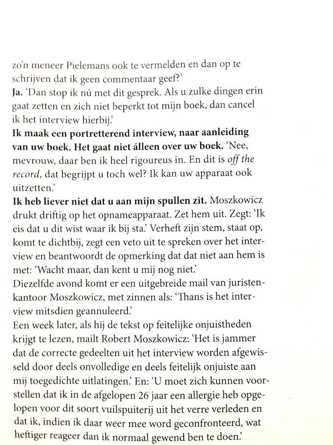 Robert Moszkowicz het interview met Volkskrant Magazine van 8 februari